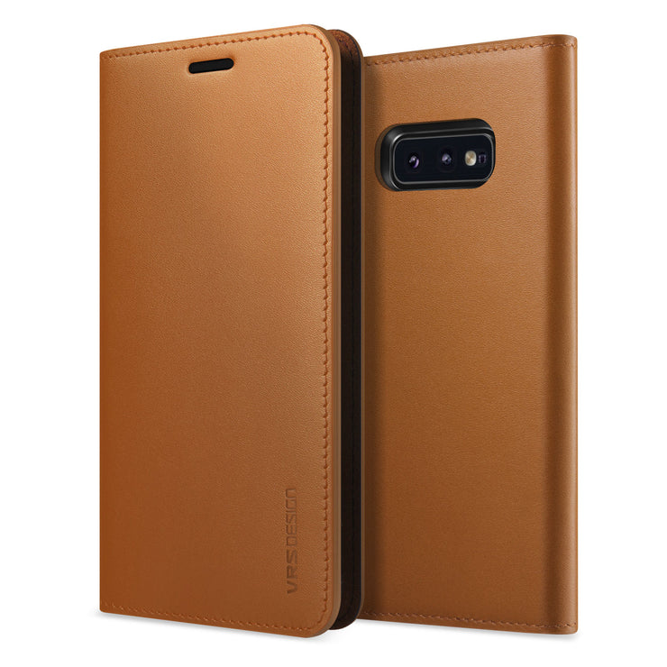 VRS Design | Samsung Galaxy S10e Genuine Leather Diary Leather Wallet Case Cover - Brown