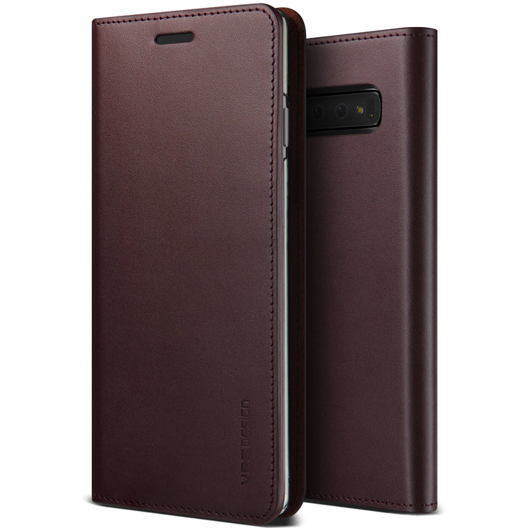 VRS Design | Samsung Galaxy S10 Plus Genuine Leather Diary Leather Wallet Case Cover - Wine
