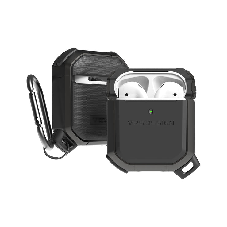Best Minimalist EDC Apple AirPods hard protective case accessories. Durable lightweight and scratch resistance, the new top notched Apple AirPods deluxe Wireless Charge compatible case is pocket friendly and shock resistant. Securely held with high quality premium Carabiner for your daily portability by VRS Design