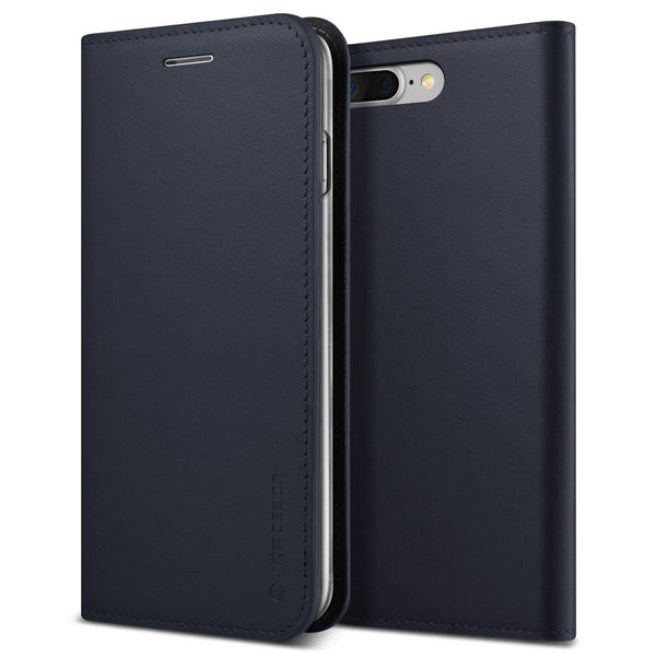 VRS Design [Genuine Leather Diary Series] Apple iPhone 7 Plus Case - Navy - Main