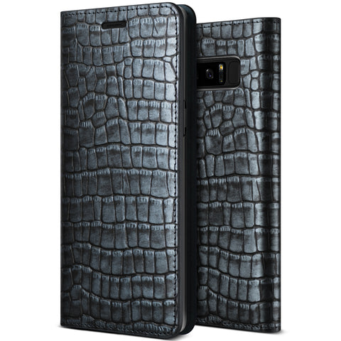 VRS Design [Genuine Croco Diary Series] Samsung Galaxy Note 8 Case - Satin Blue - Main