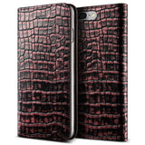 VRS Design [Genuine Croco Diary Series] Apple iPhone 7 Plus Case - Plum Red - Main