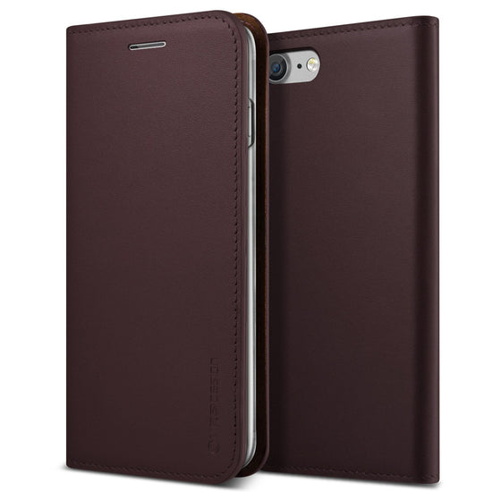 VRS Design [Genuine Leather Diary Series] Apple iPhone 7 Case - Wine Red