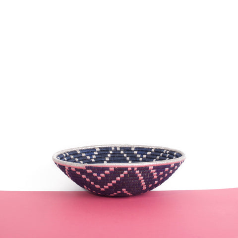Metallic Blue Plateau Basket