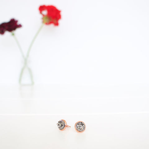 Kalenjin Druzy Earrings - Charcoal
