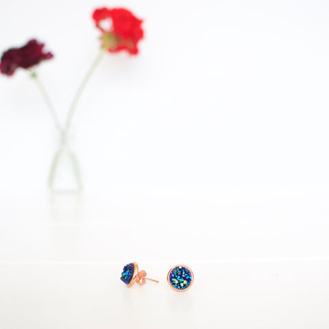 Kalenjin Druzy Earrings - Peacock
