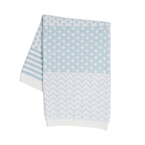 Baby Blanket - Sky Blue and White