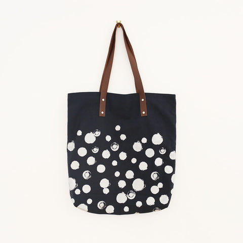 Canvas & Leather Tote - dot print in navy and metallic silver