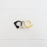 Black, White and Gold Ring Set