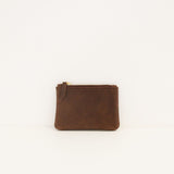 Nubuck Zip Bag - Dark Brown