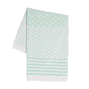 Baby Blanket - Aqua and White