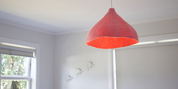 Felt Lampshade - W - Fluorange/Indian Pink