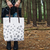 Canvas & Leather Tote - dot print in white and metallic silver