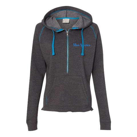Ladies's Hooded Half Zip - Dark Grey/Blue
