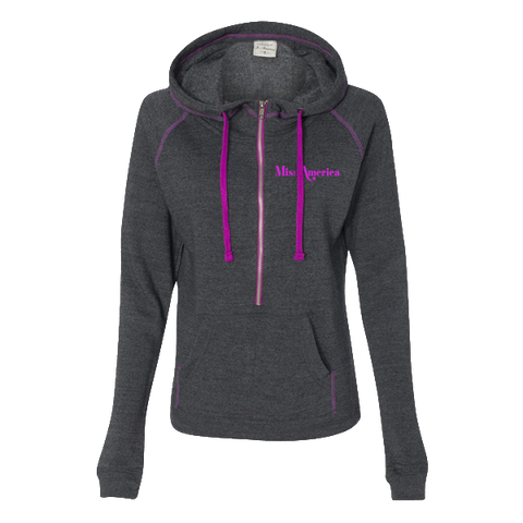 Ladies's Hooded Half Zip - Dark Grey/Purple