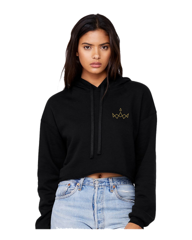 Black Cropped Fleece Hoodie - Crown