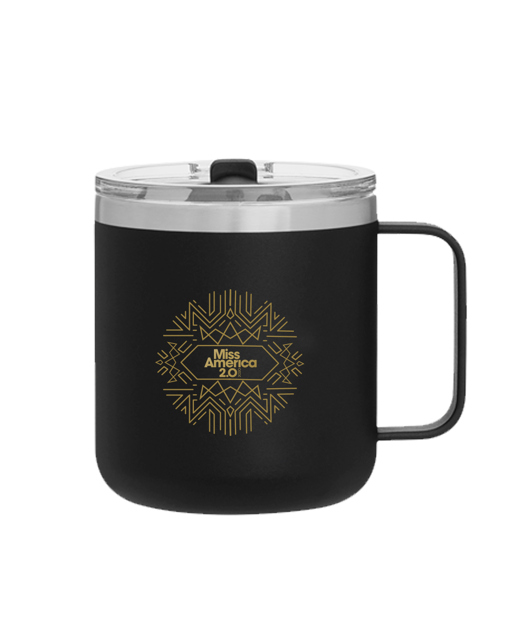 Art Deco 12 oz Double Wall Camper Mug Black