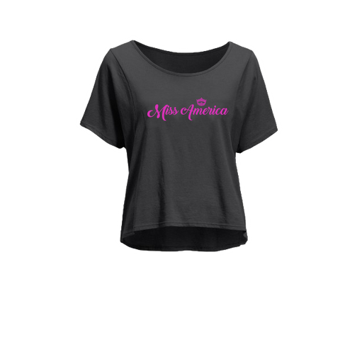 Miss America Cropped Tee - Black
