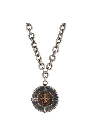 Audaces Signature Cross Coin Necklace By Shannon Koszyk-Jewelry-Shannon Koszyk-Two Tone-Three Wild Horses