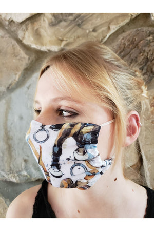 Horse Theme Face Mask + Filters White Equestrian