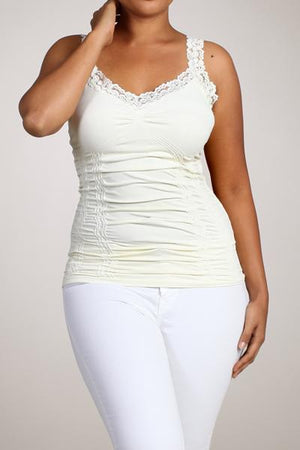 Seamless Lace Trim Stretch Cami Ivory XL