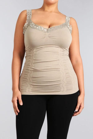 Seamless Lace Trim Stretch Cami Sandstone XL