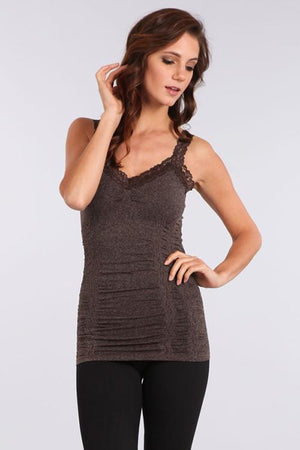 Seamless Lace Trim Stretch Cami Heather Brown