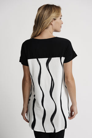 Joseph Ribkoff Beige Black/White Graphic Tunic