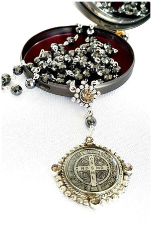 VSA Designs Exclusive Silver San Benito 6mm Rosary Necklace-Jewelry-VSA-Madison San Diego