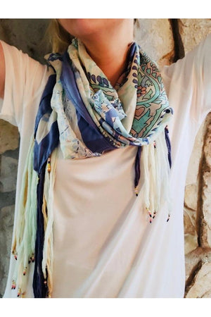 Blue and Mint Floral Square Silk Scarf with Chiffon and Bead Fringe