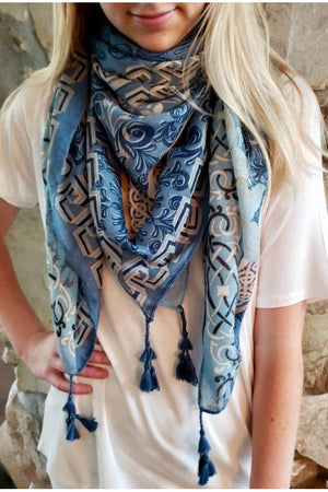 Blue and Gold Floral Square Scarf with Tassels