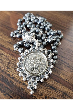 VSA Designs Exclusive Silver Fay Fairy Star 6mm Rosary Necklace-Jewelry-VSA-Madison San Diego