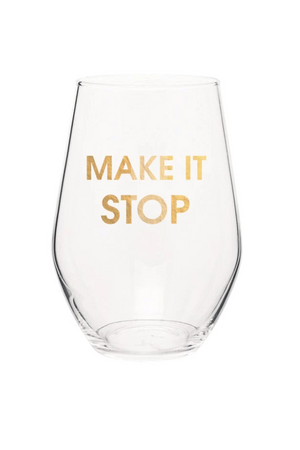 Chez Gagne Make It Stop Gold Foil Stemless Wine Glass-GIFT-Chez Gagne-Fairen Del