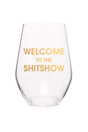 Bisque Chez Gagne Welcome to the Shitshow Stemless Wine Glass