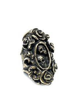 Dark Slate Gray Calvera Skull And Roses Ring By Shannon Koszyk