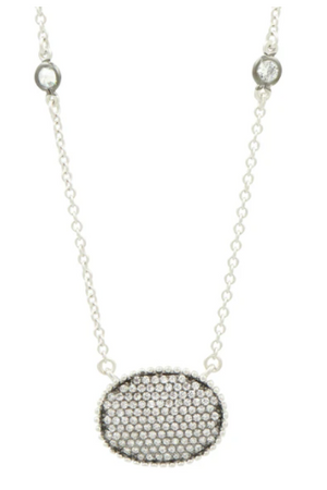 Freida Rothman Signature Pave Oval Disc Necklace