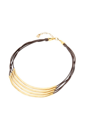 "UNO de 50 ""Double Balance"" Gold Leather Necklace"