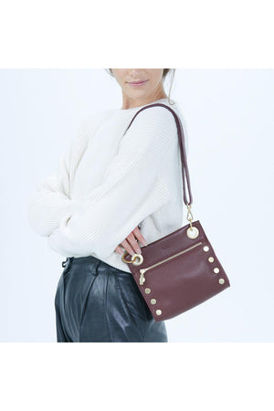 Hammitt Tony Small Plum with Brushed Gold Handbag