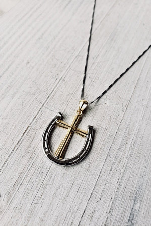 A Rider's Prayer Equestrian Necklace - Gold & Silver on Silver Chain