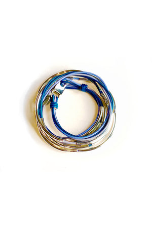 Lizzy James Lizzy Too Tricolor Blue Wrap Bracelet w/Silver