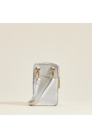 Hammitt 424 Cellphone Case in Ceramic White/Brushed Gold-Handbag-Hammitt-Madison San Diego