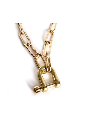 Sienna Paperclip Shackle Link Lock Brass Horseshoes Necklace