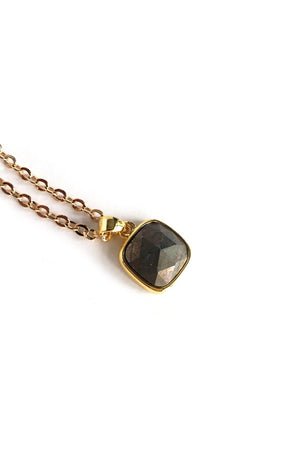 Dark Slate Gray Mini Pyrite Gold Filled Link Chain Layered Necklace