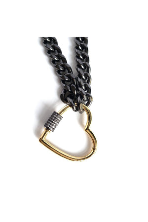 Tan Black Rhodium Curb Chain Choker Gold Plated Heart CZ Pave Screw Clasp Necklace