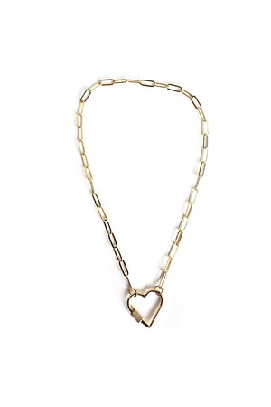 Seashell Gold Plated Stylish Curb Chain Choker Necklace with Heart Screw Clasp CZ Pave