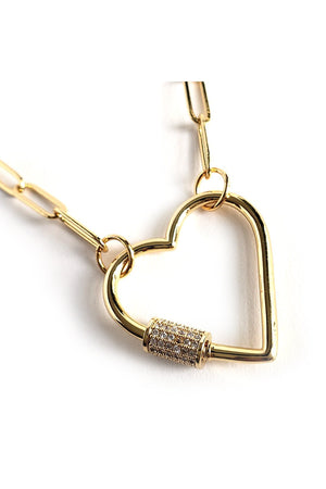 Tan Gold Plated Stylish Curb Chain Choker Necklace with Heart Screw Clasp CZ Pave