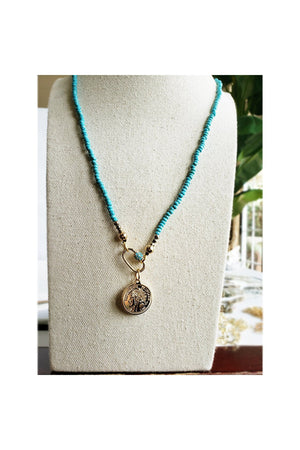 Light Gray Blue Turquoises Carabiner Long Necklace with Republique Francaise 14K Gold Filled Coin