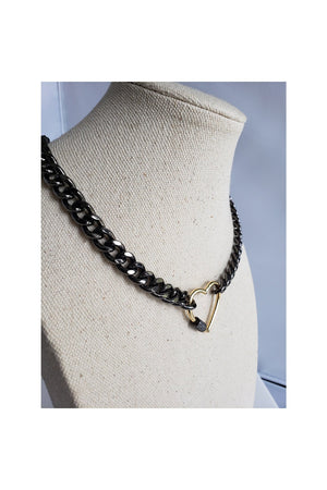 Gray Black Rhodium Curb Chain Choker Gold Plated Heart CZ Pave Screw Clasp Necklace