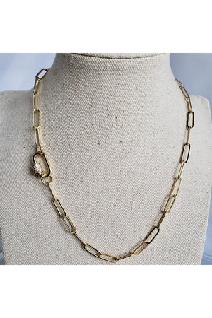 Gray Gold Toned Club Open Chain Necklace with Pave Carabiner Screw Clasp