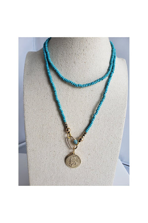 Gray Blue Turquoises Carabiner Long Necklace with Republique Francaise 14K Gold Filled Coin